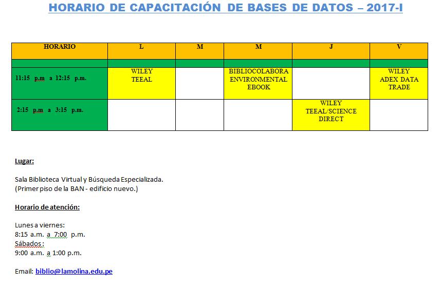 CALENDARIO DE CAPACITACIÓN DE BASES DE DATOS